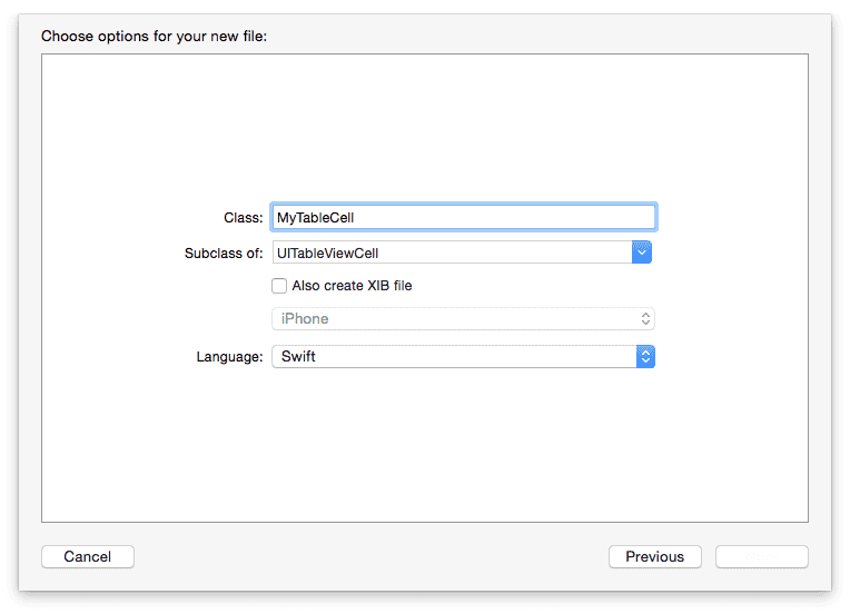 Xcode - New class file creation window