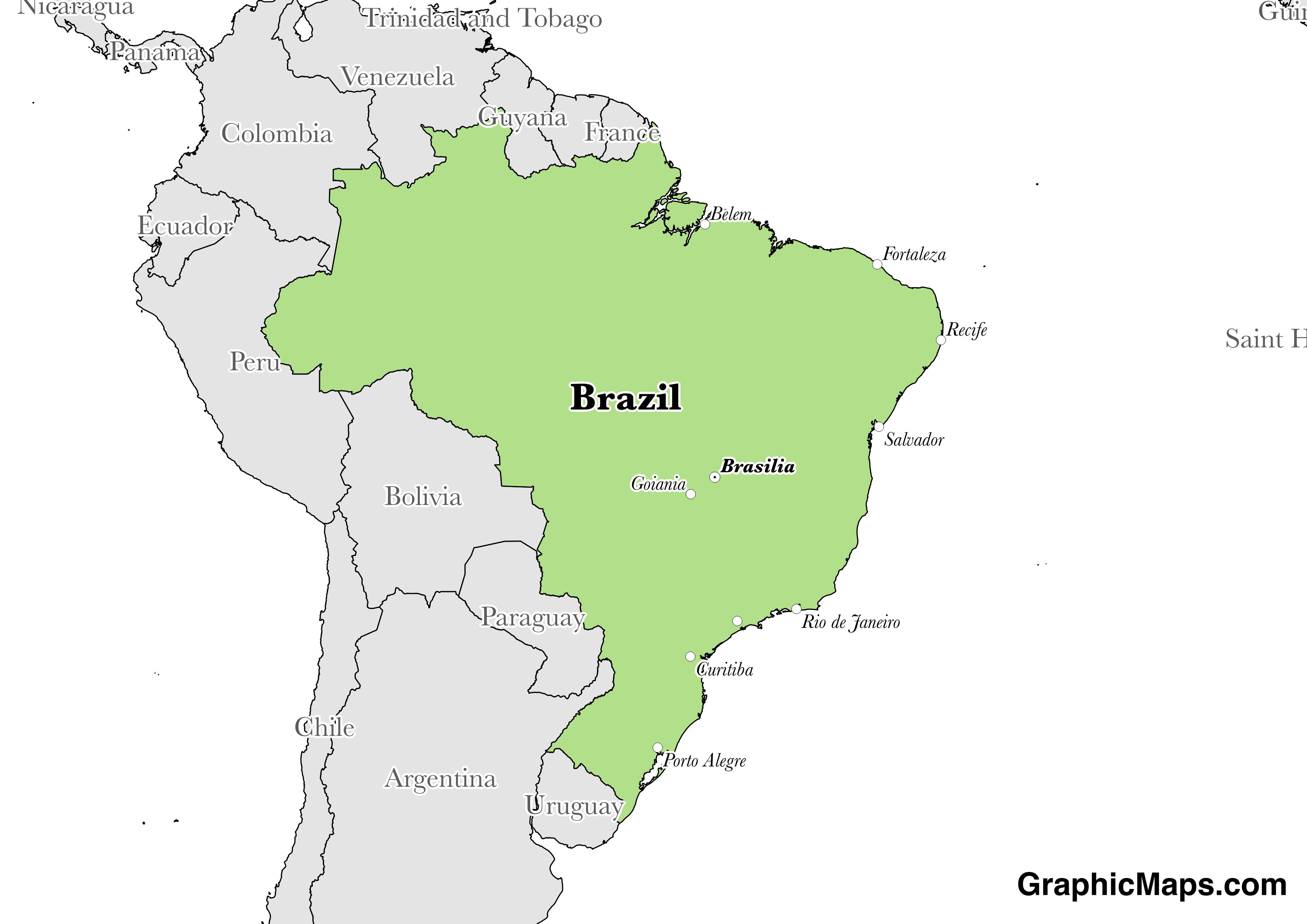Map showing the location of Brazil