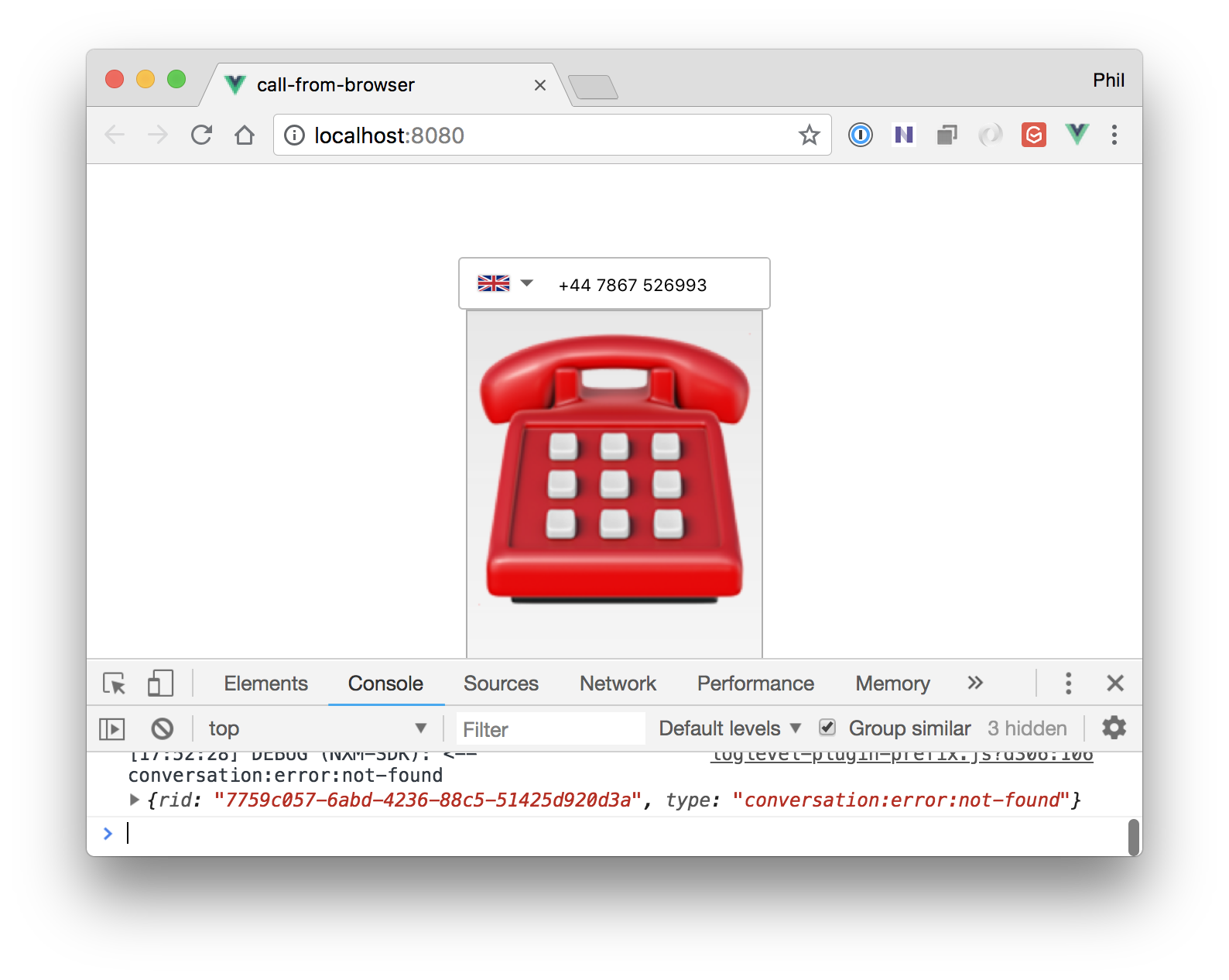 conversation-not-found message in browser console