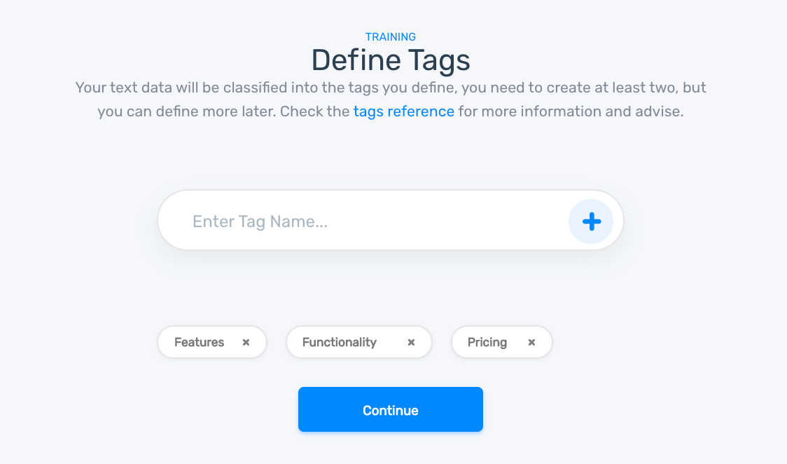 Topic classification model defining tags, 'Pricing,' 'Features,' and 'Functionality.'
