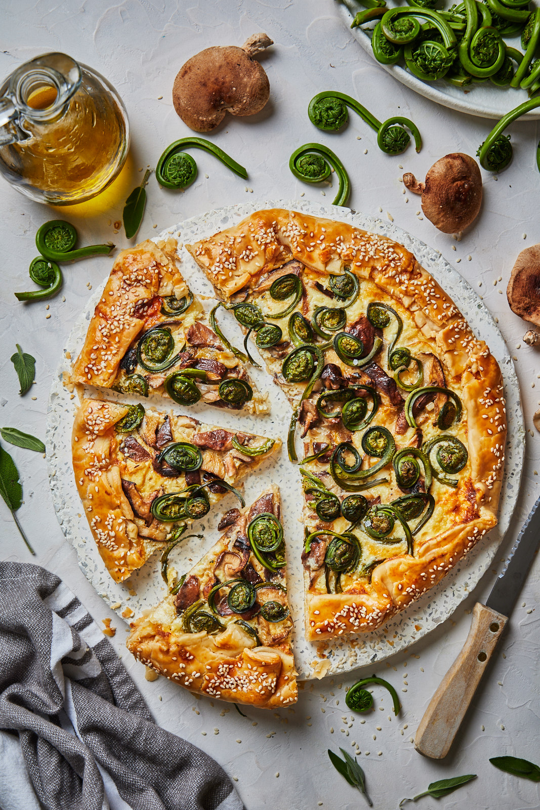 Fiddlehead and Mushroom Galette With Caramelized Onion Ricotta