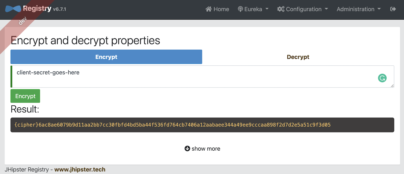 JHipster Registry Encrypt Feature