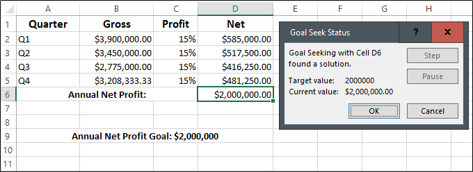 An Excel worksheet showing the Goal Seek function in action
