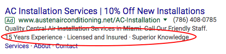 Callout Extensions on HVAC Google Ad