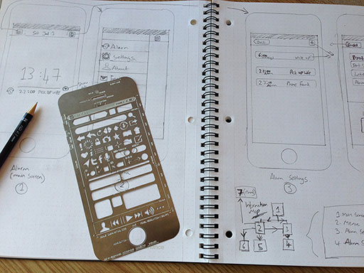 An image of a UI Stencil next to some wireframes