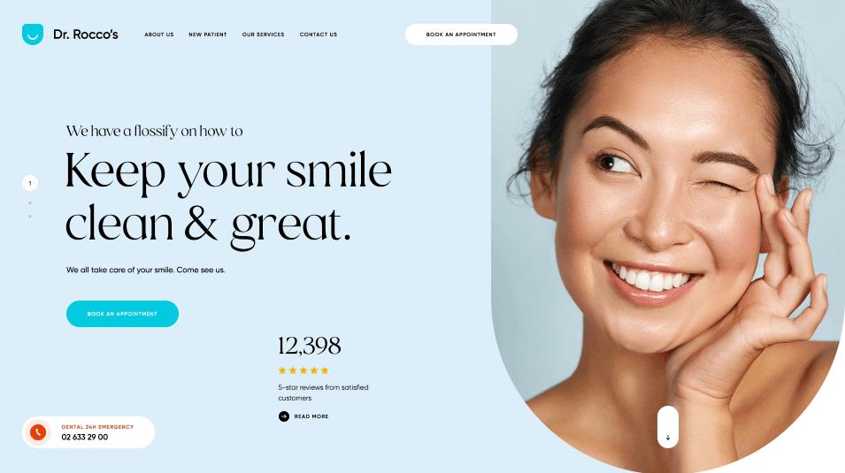 screenshot of Dr. Rocco's Dental Center website
