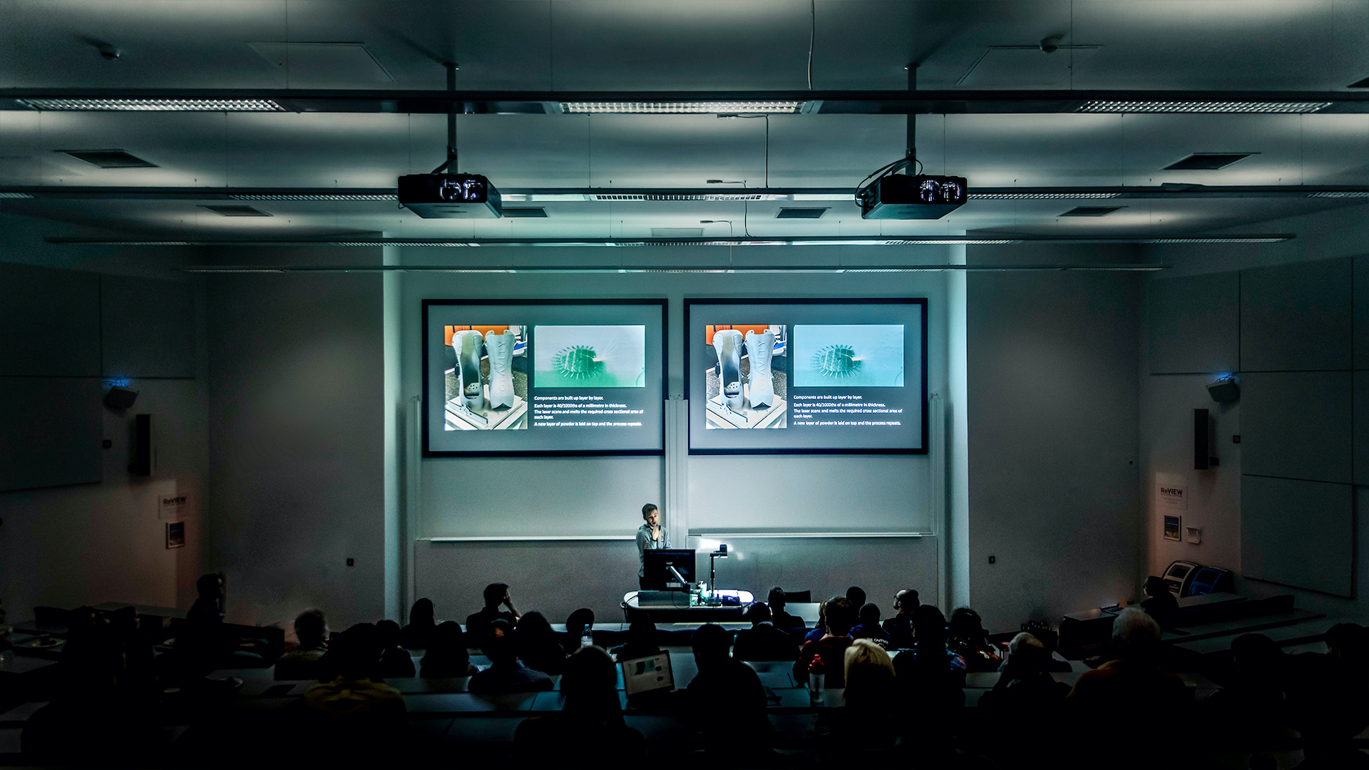 Education image, Sam Rogers giving the keynote at the UK Manufacturing Technology Centre