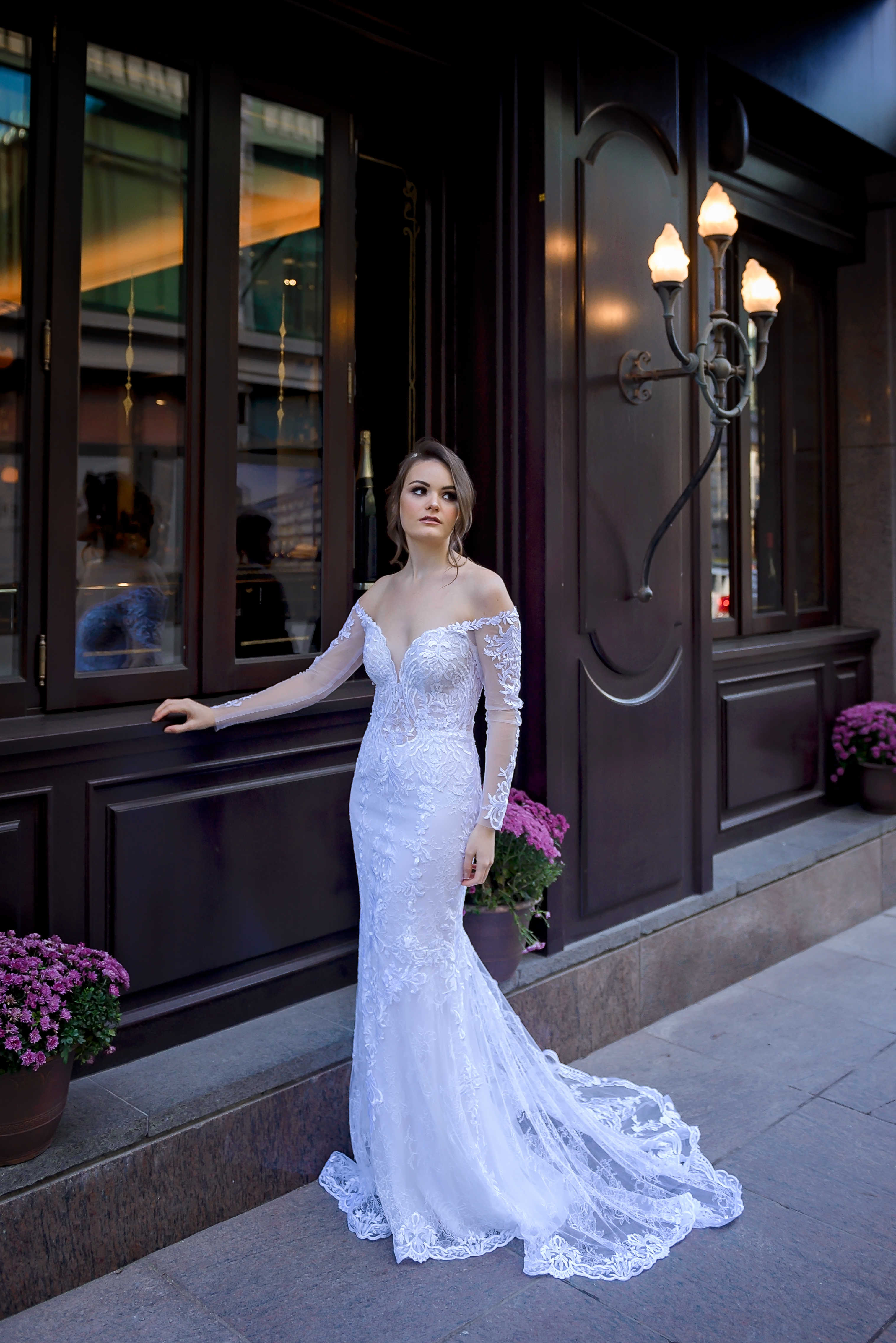 off the shoulder wedding gown custom bridal dresses montreal lilia haute couture