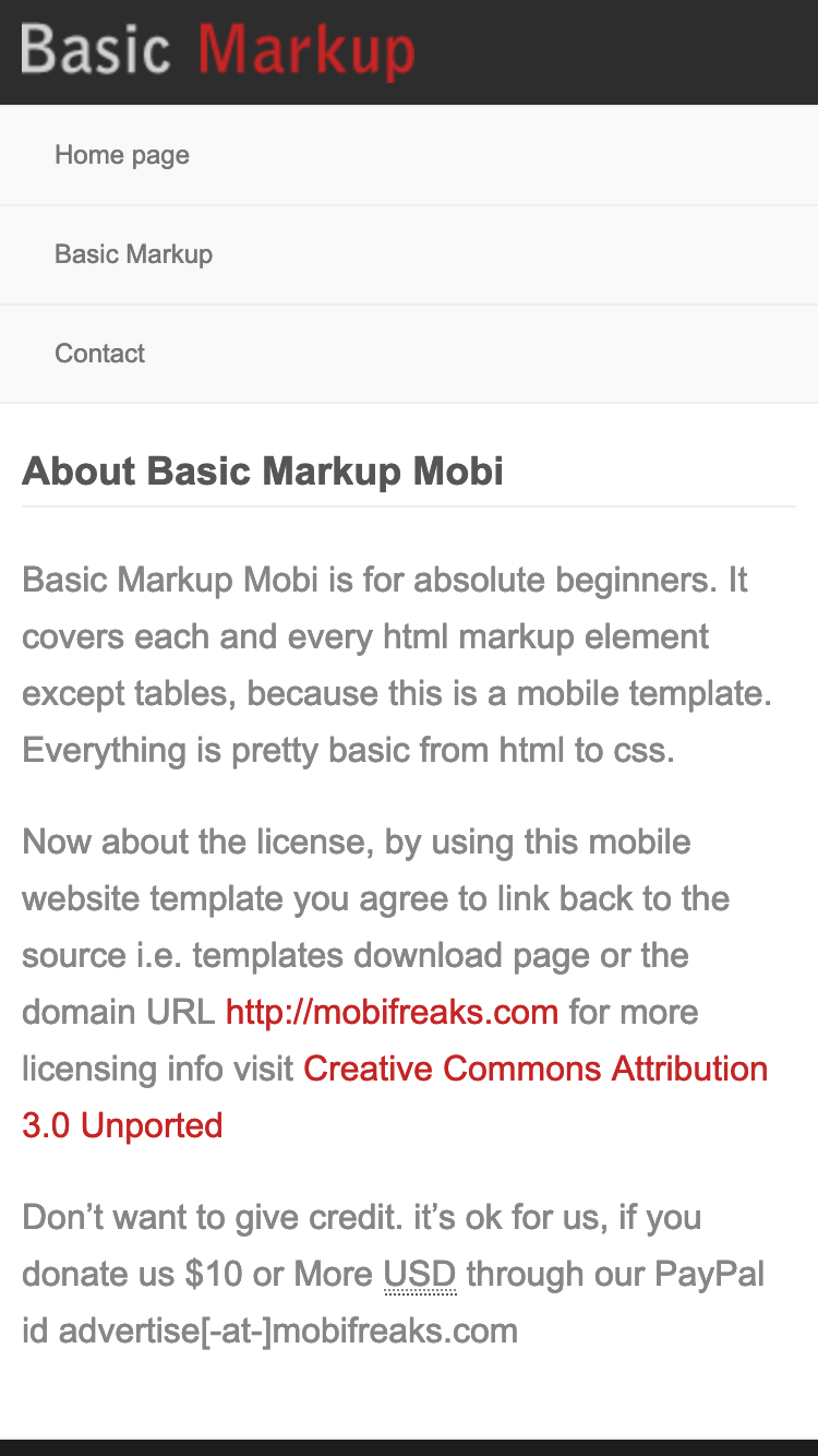 Screenshot of Basic Markup Mobi mobile website template