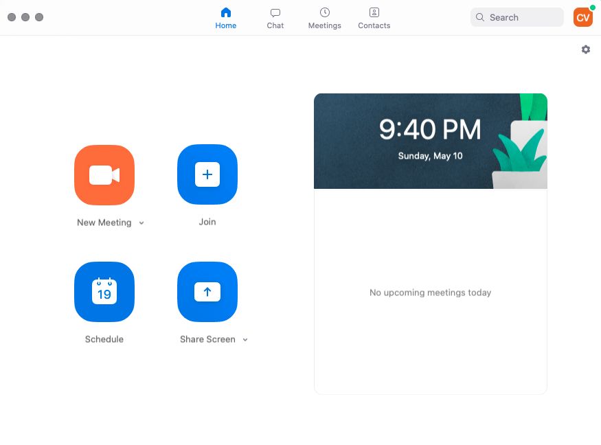 Screenshot of Zoom, featuring four simple options: new meeting, join, schedule, and share screen.
