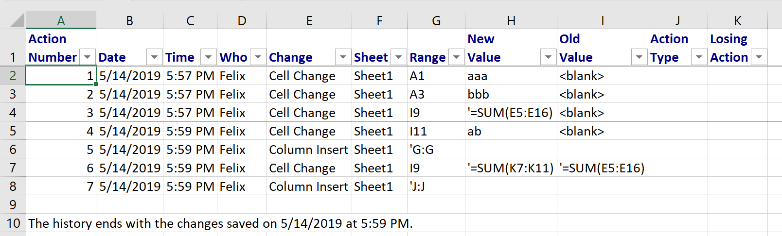 track changes in excel via tooltips