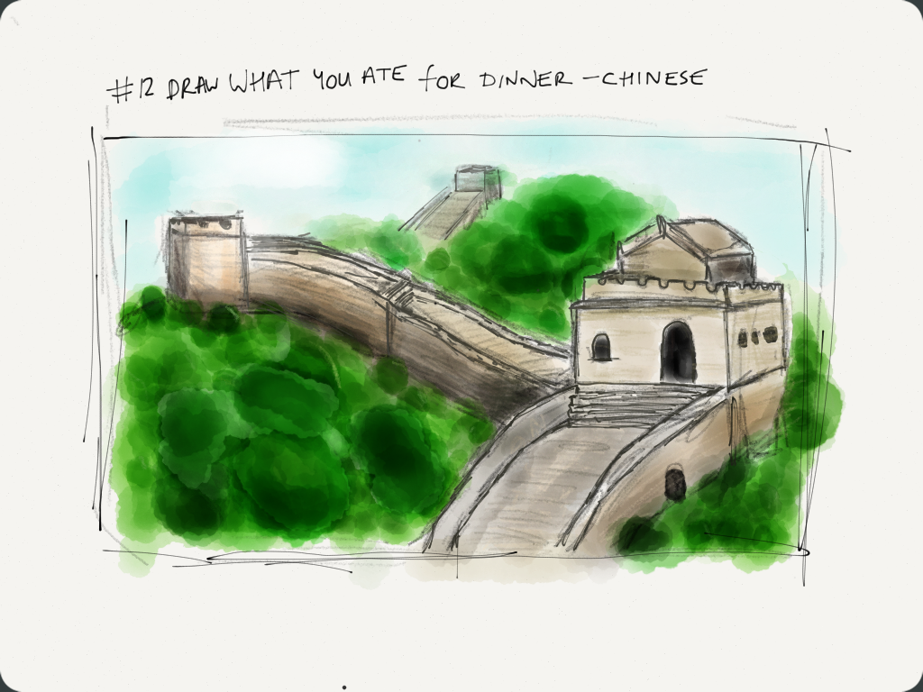 Drawing of the Great Wall of China
