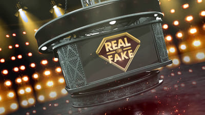 A game show mockup, with bright lights and a big screen in the middle. The screen shows the title: Real of Fake?