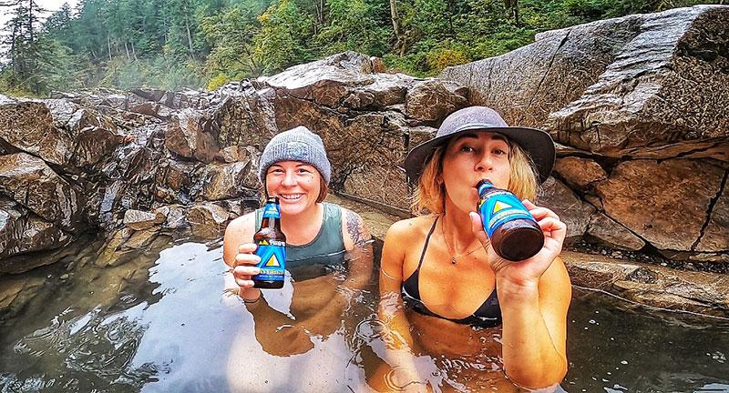 Drinking craft Pyramid ales in a hidden Washington hot spring.