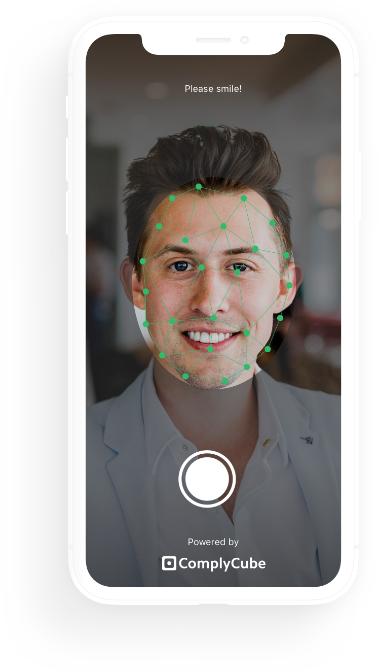 iPhone illustration showing facial detection software