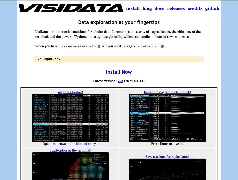 old VisiData site