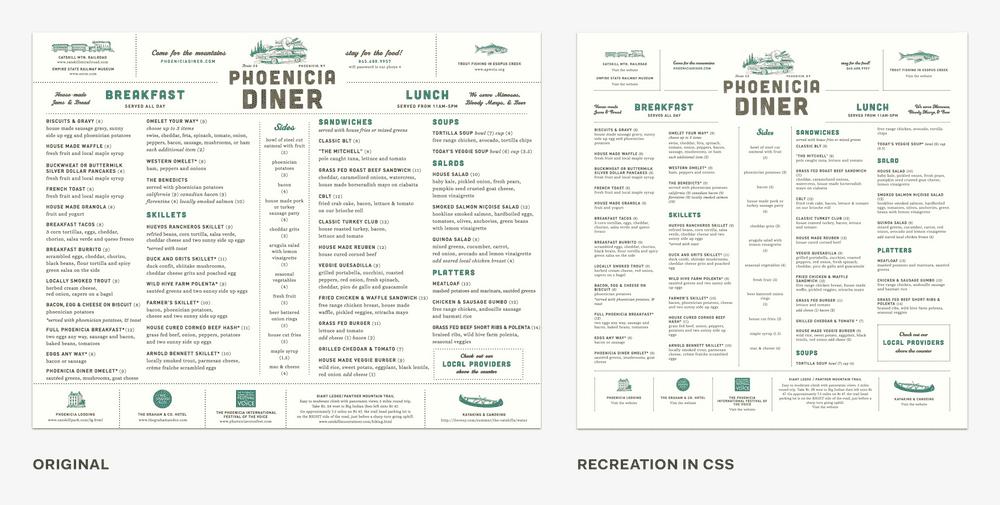 Print menu vs. recreation in CSS