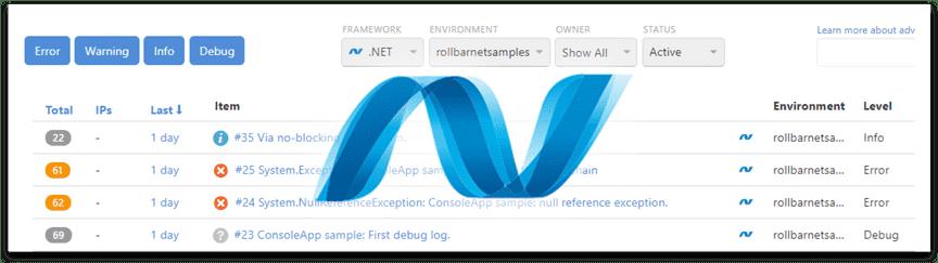 .NET errors screenshot