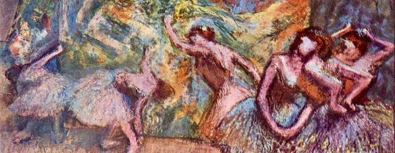 A colourful pastel of Edgar Degas' Ballet Dancers.