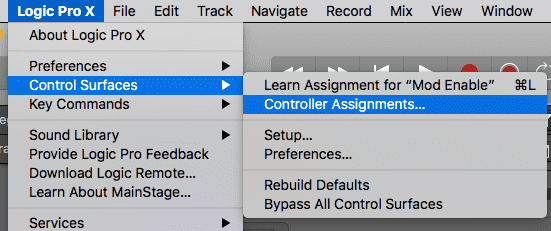 Open menu for the control surfaces in logic