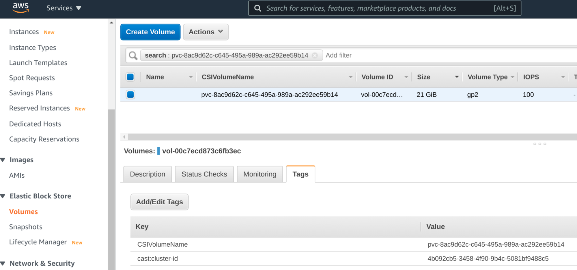 Screenshot of AWS web console, showing EBS volume identification