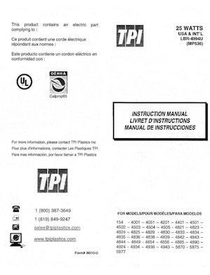 TPI Plastics 25 Watts Instruction Manual.pdf preview