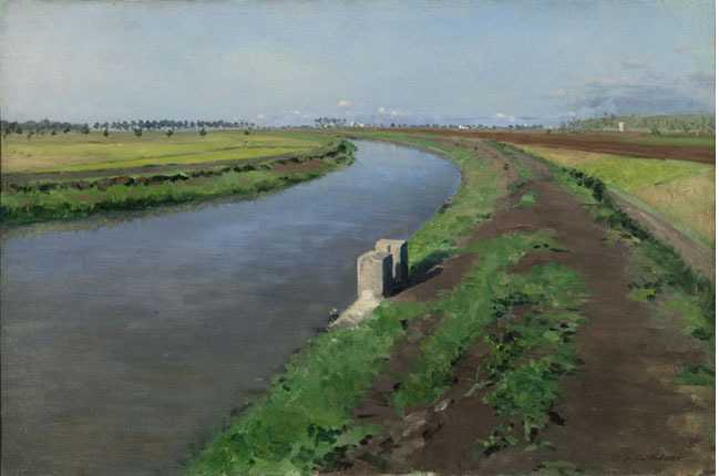 'Banks of a Canal, near Naples'  by Gustave Caillebotte (c. 1872)