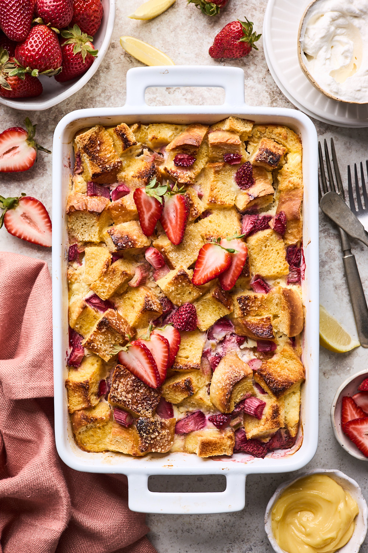 Strawberry Rhubarb Baked French Toast