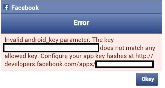 Invalid android_key parameter