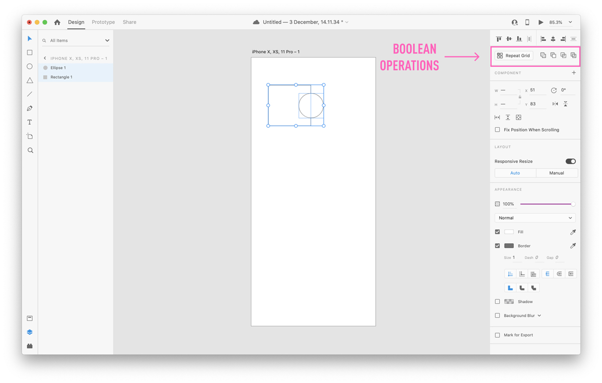 Boolean Operations on Adobe XD