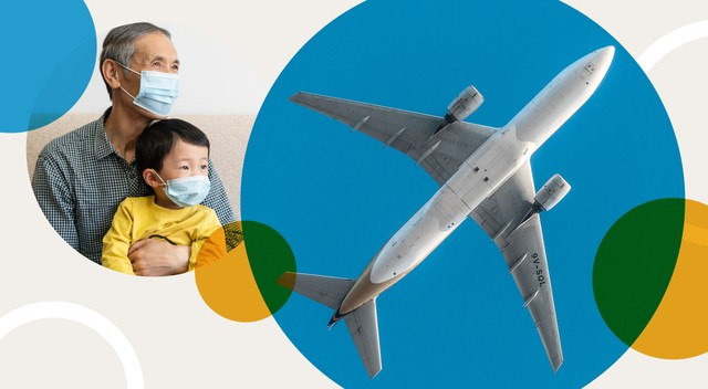 An illustration showing life after the COVID-19 vaccine, including children visiting with grandparents and a plane leaving for a vacation destination