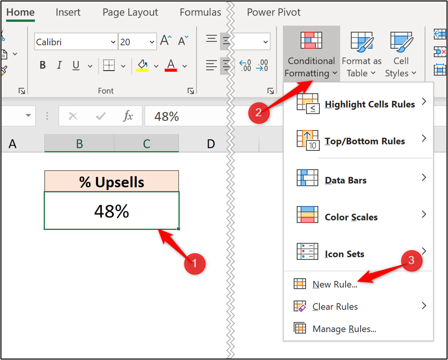 """An Excel worksheet with a cell highlighted. The """"new rule"""" option has been selected from the """"conditional formatting"""" dropdown."""