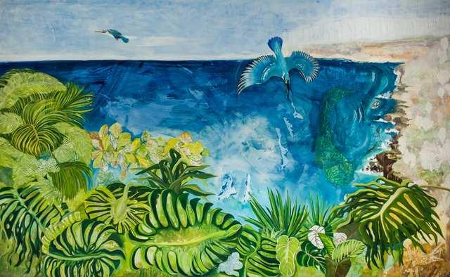 Kingfisher Blue Bukit, acrylic woodblock on canvas