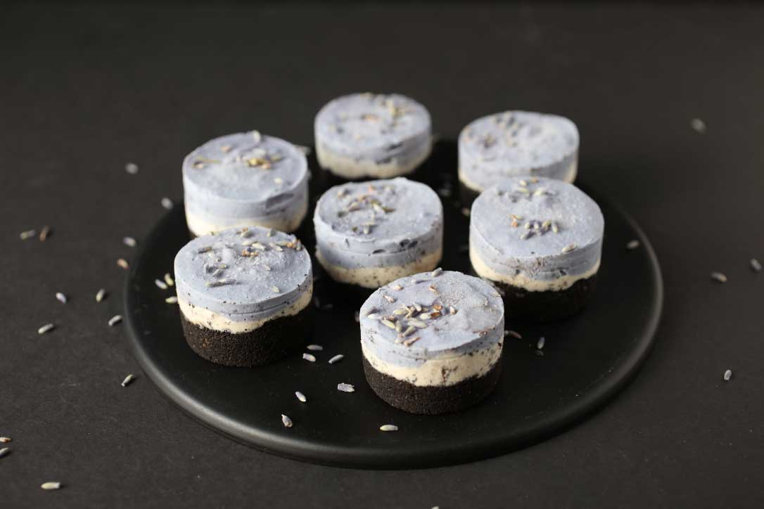 Gluten-free Mini Vegan Purple Cheesecakes