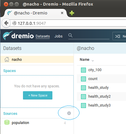 Clicking + in Dremio to create new data source