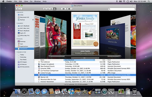 The Finder in Mac OS X 10.5, browsing a directory using the new 'Cover Flow' view