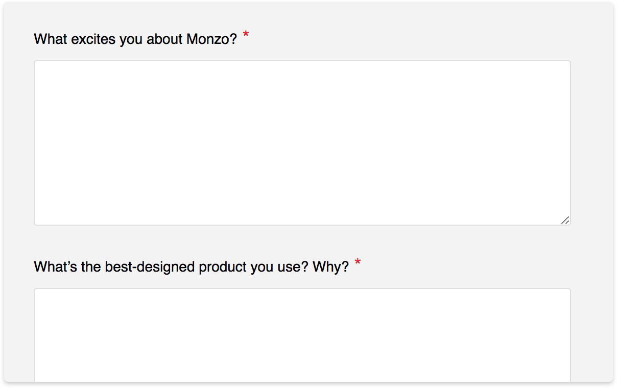 Some of the questions we ask designers when they apply