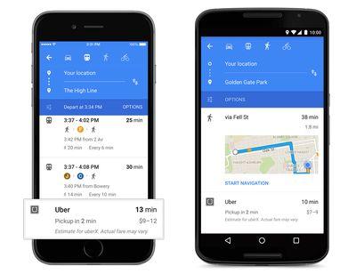 Indicazioni del tempo di attesa e del costo di un'auto Uber in Google Maps