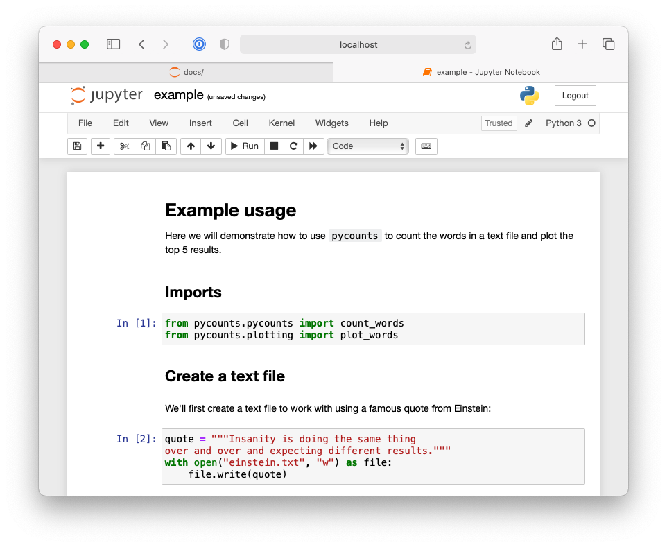 First half of Jupyter notebook demonstrating an example workflow using the `pycounts` package.