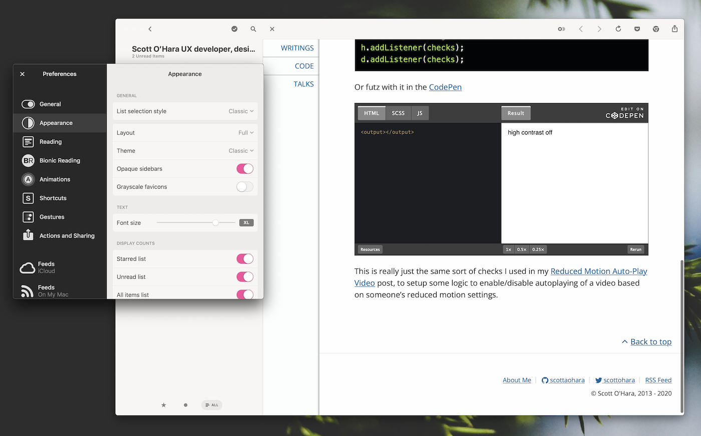 Screenshot of Scott's article opened in Reeder's in-app browser. The codepen result only says 'high contrast off', indicating that dark mode is not on. To the left of the image is Reeder's preferences pane open, showing the current theme set to 'Classic' (which is a light theme).