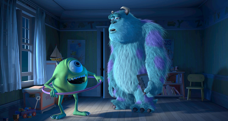 Mike e Sulley conversam de noite