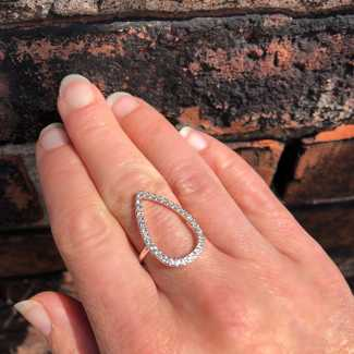 Sterling Silver CZ Crystal TearDrop Size 7.5 Ring