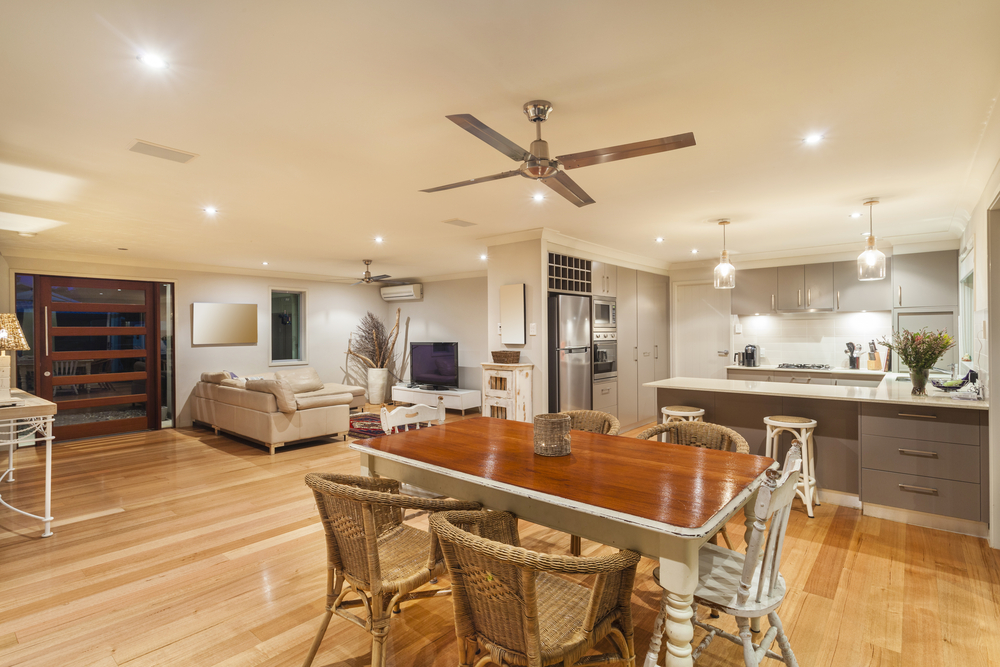 image of dining room and ceiling fan