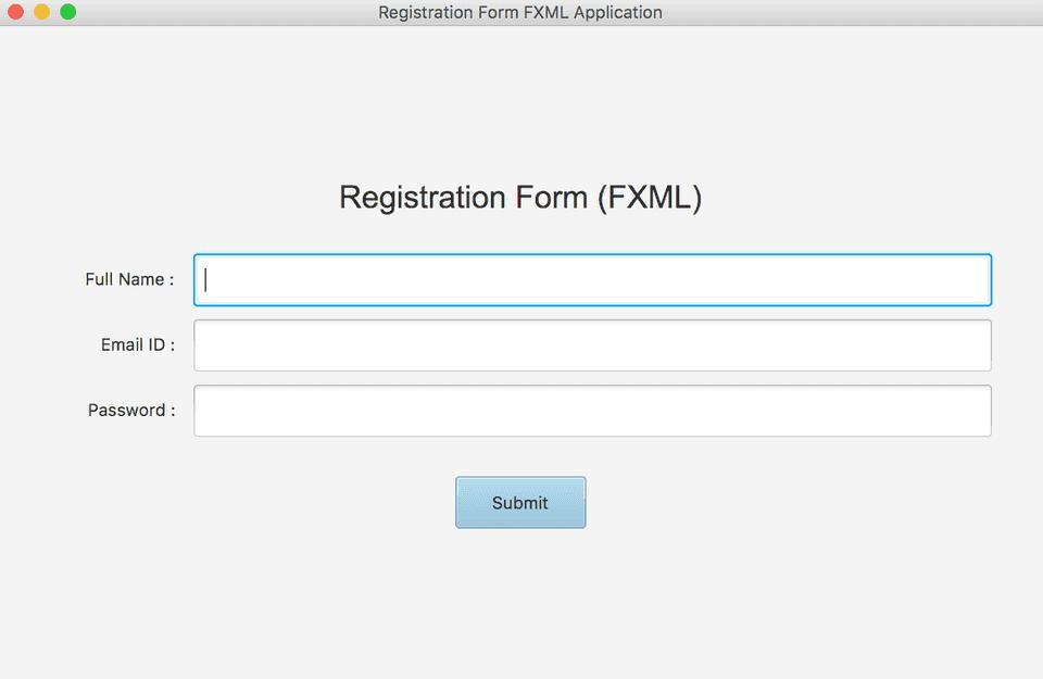 JavaFX FXML form GUI application