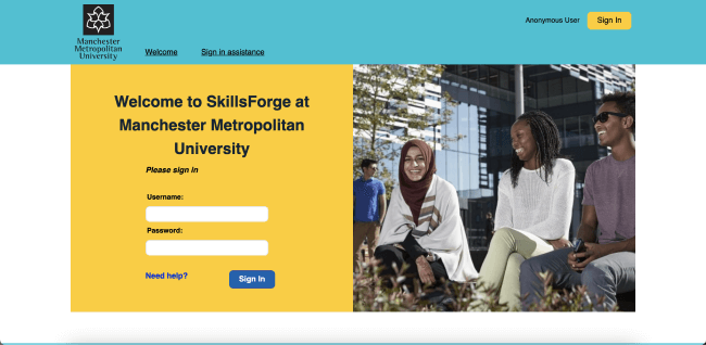 Manchester Metropoliton University's SkillsForge system with a bright blue header and a block yellow sign in panel, next to a large hero image, meeting MMU's colourful rebranding.