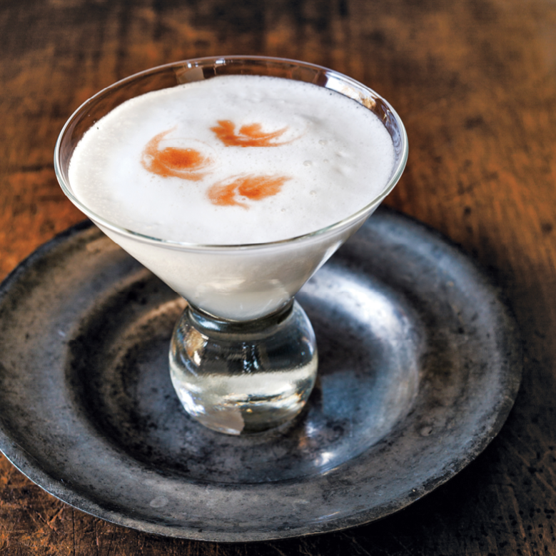 pisco sour in a cocktail glass