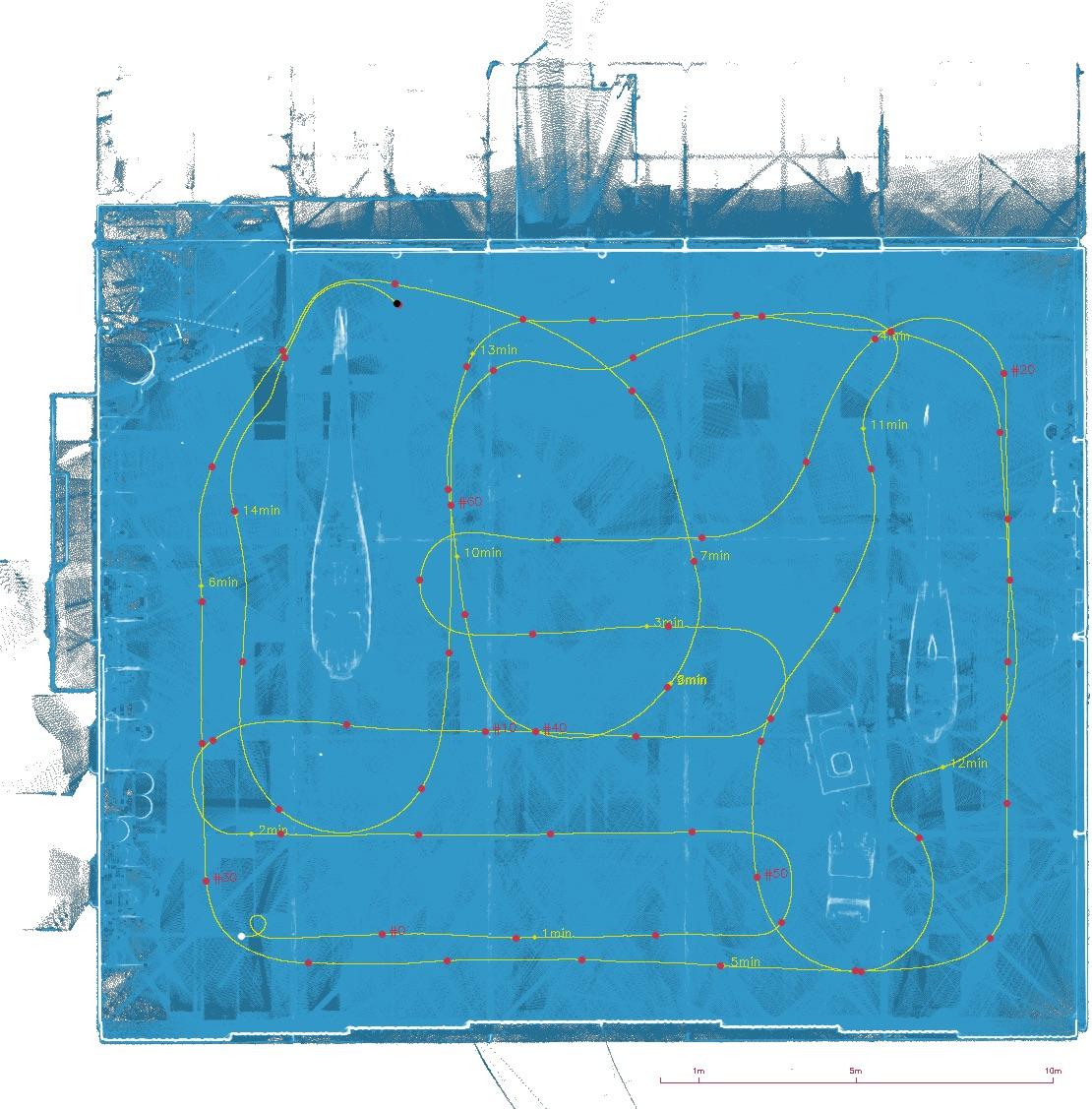 Parcours du scanner laser 3D mobile dans le hangar