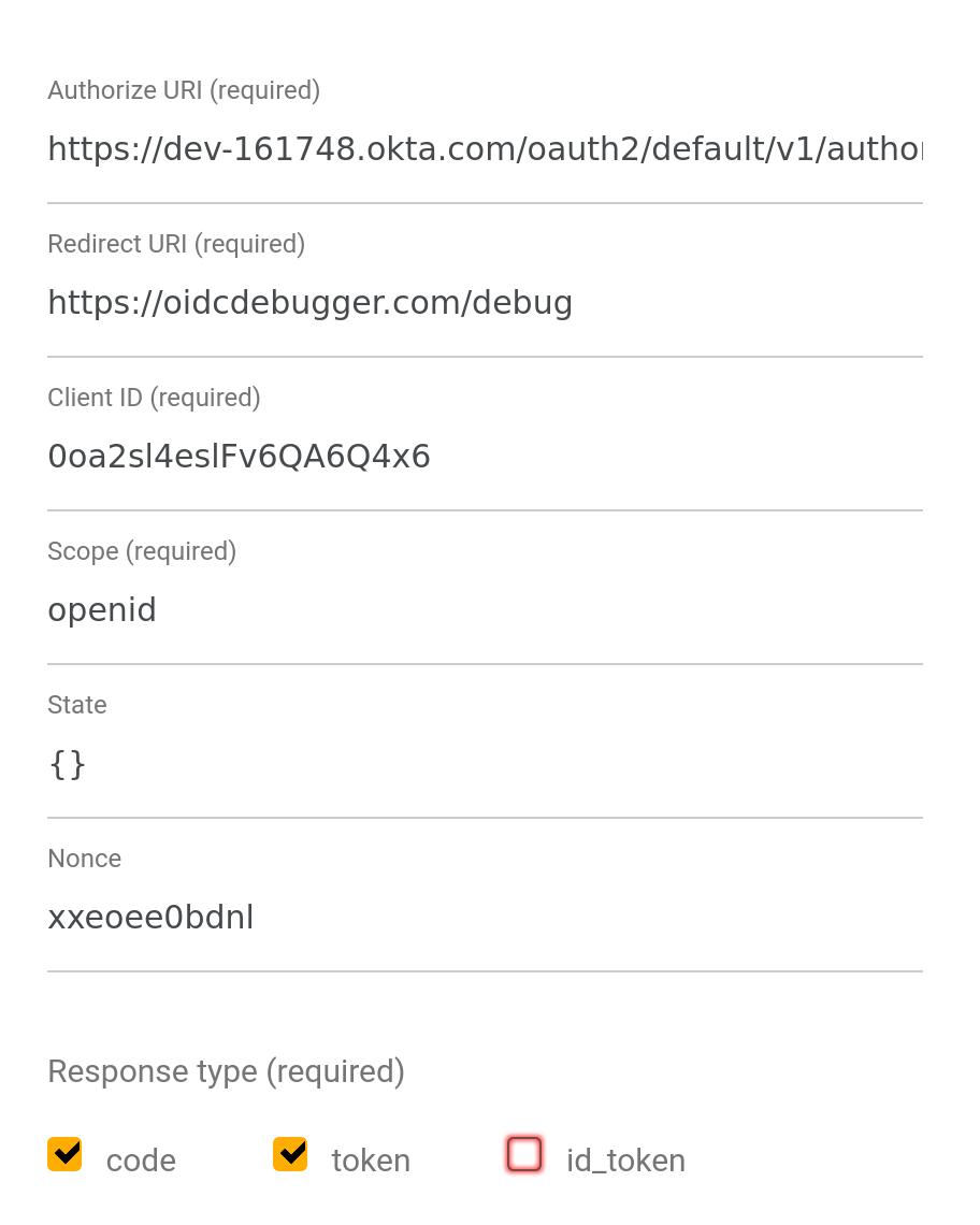 OIDC Debugger settings