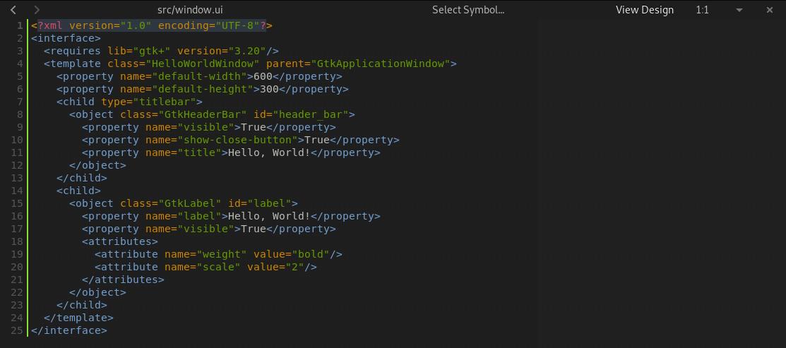 Di bagian kanan atas editor terdapat tombol View Design yang bisa digunakan untuk melihat hasil desain dari XML