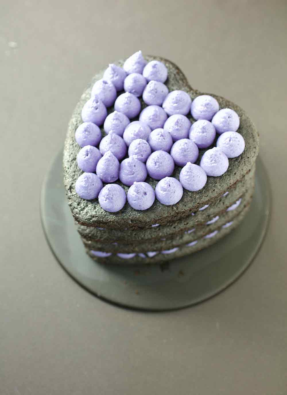 Vegan Punk Rock Black & Purple Heart Cake